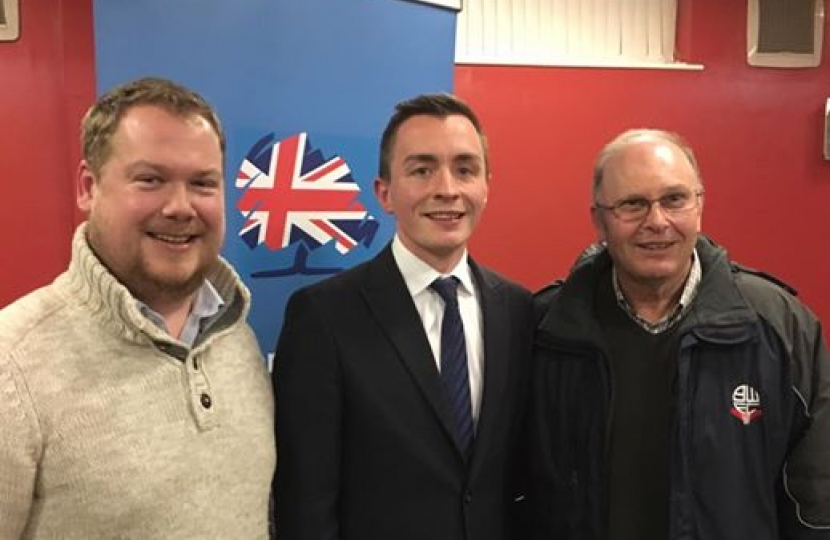 Sean Anstee with Cllrs Les Turner and Iain Lindley